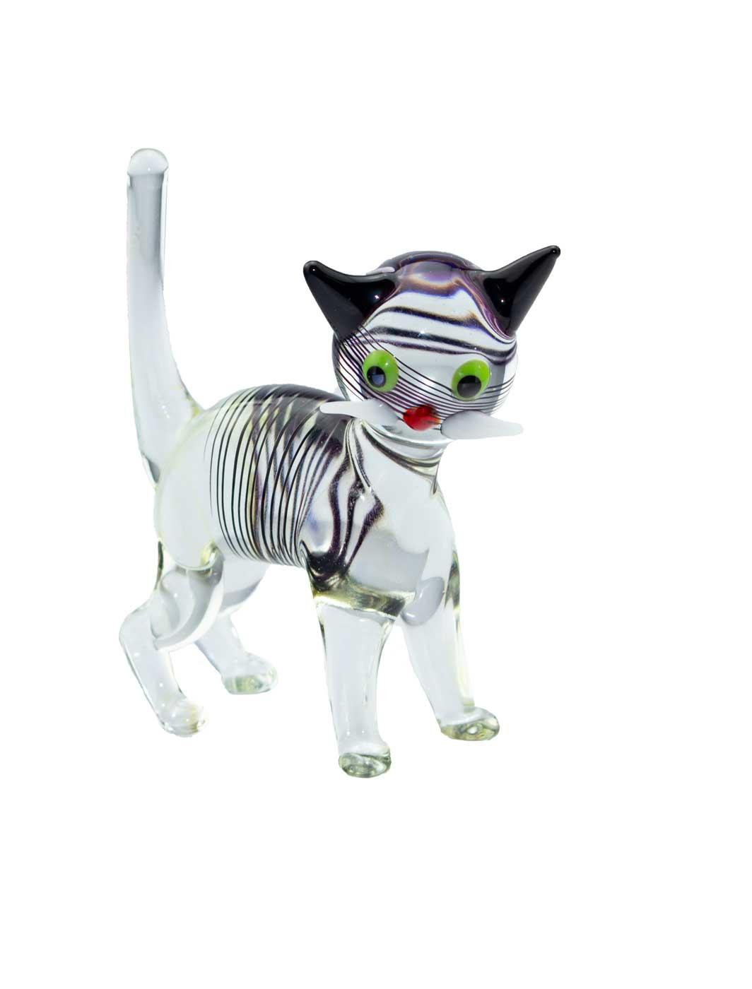 Glasfigur Katze kristall gestreift