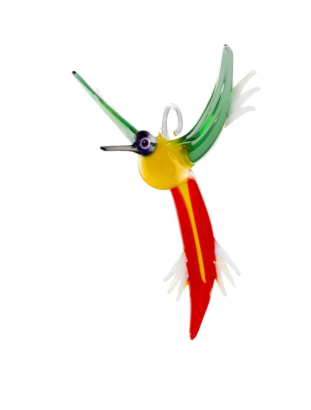 Glasfigur Kolibri hängend gelb rot grün blau