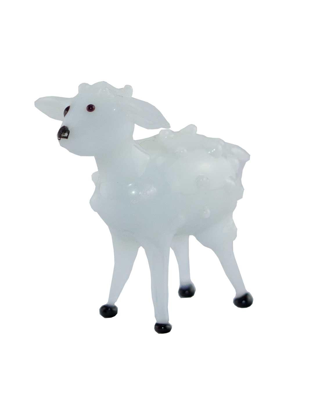 Glasfigur Schaf weiß