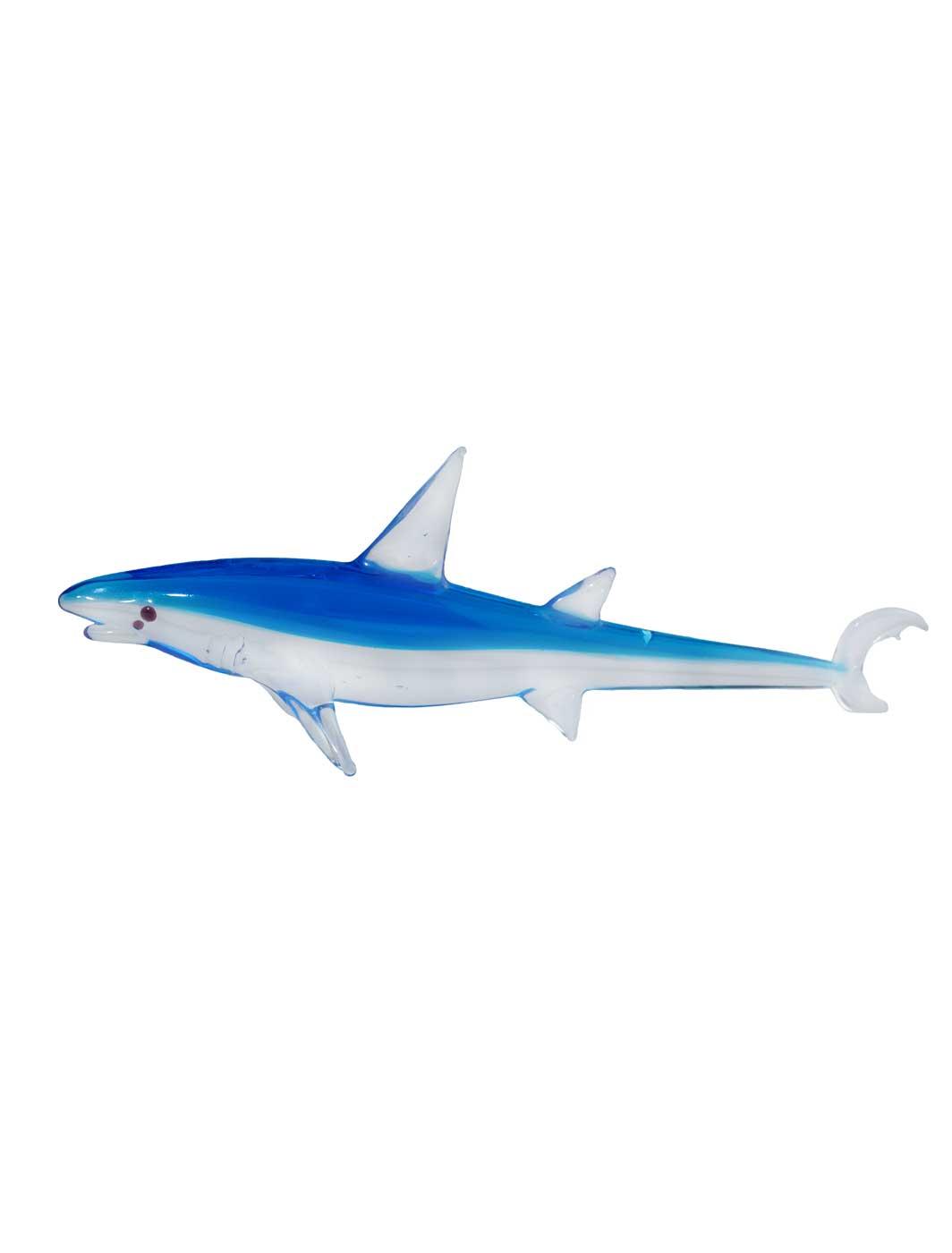 Glasfigur Hai kristall blau