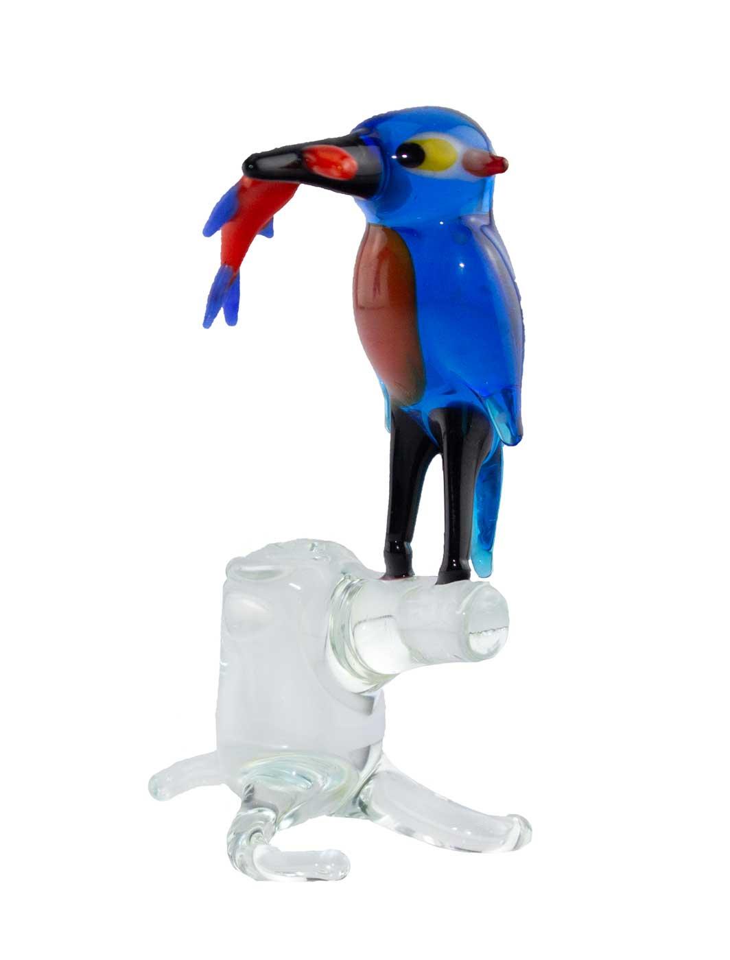 Glasfigur Eisvogel auf Stamm