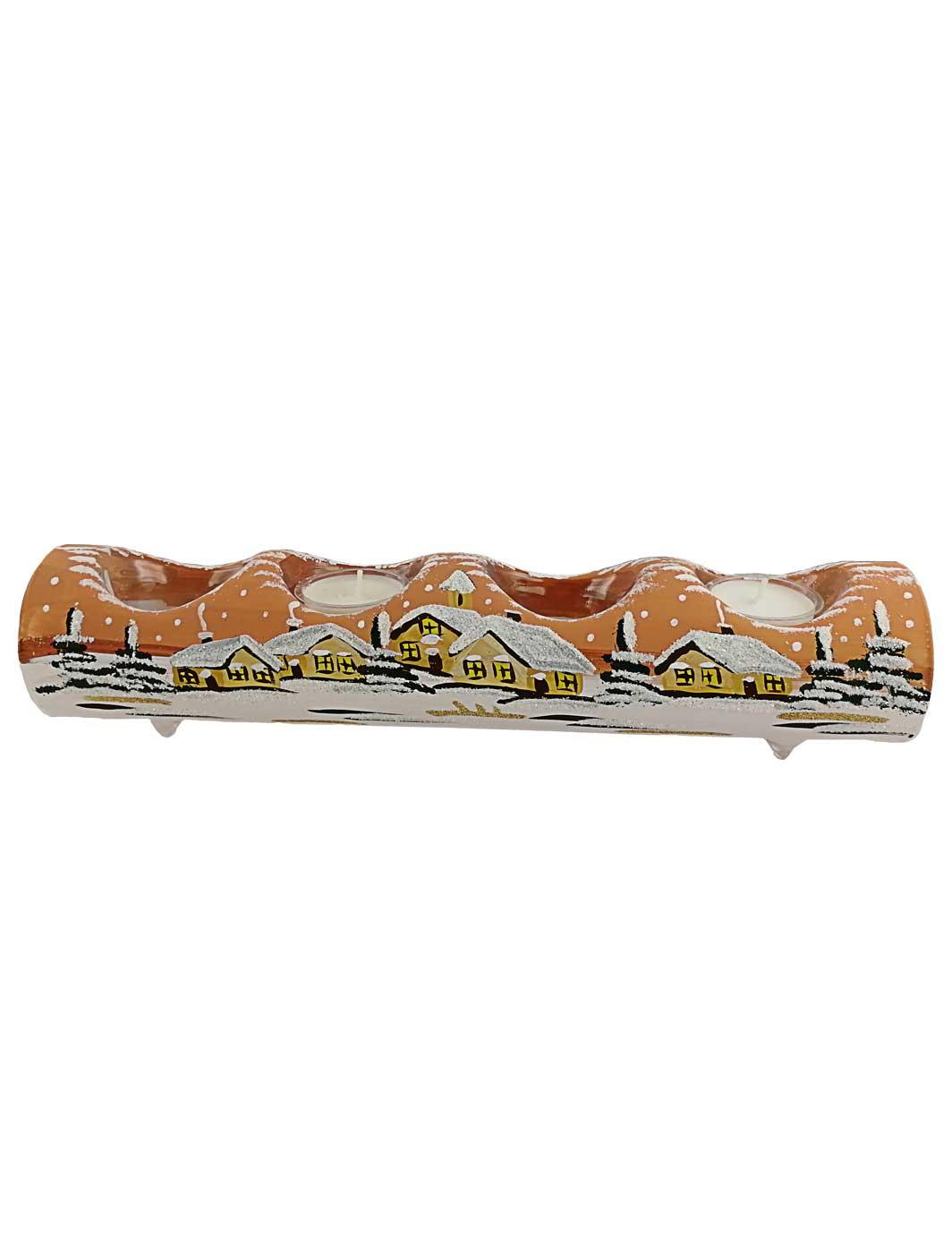 4er Teelichtröhre terracotta