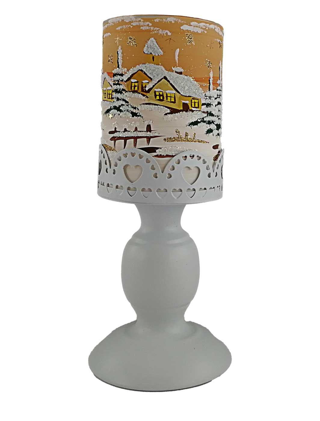 Leuchter mit Metallfuß terracotta