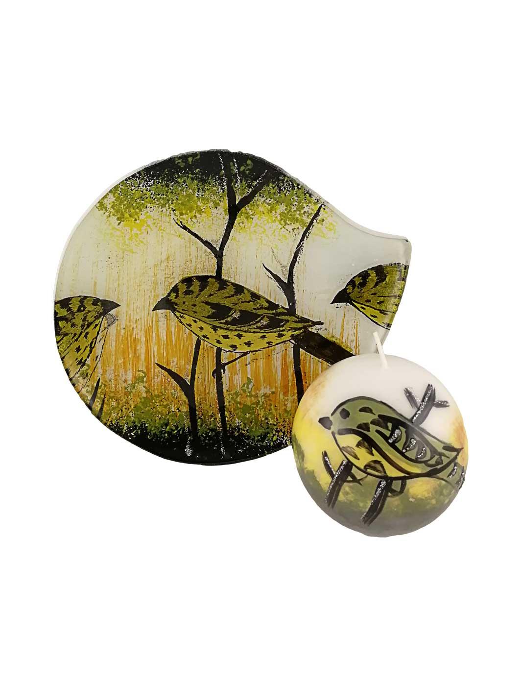 Glasplatte Vögel rund mit Wachskerze