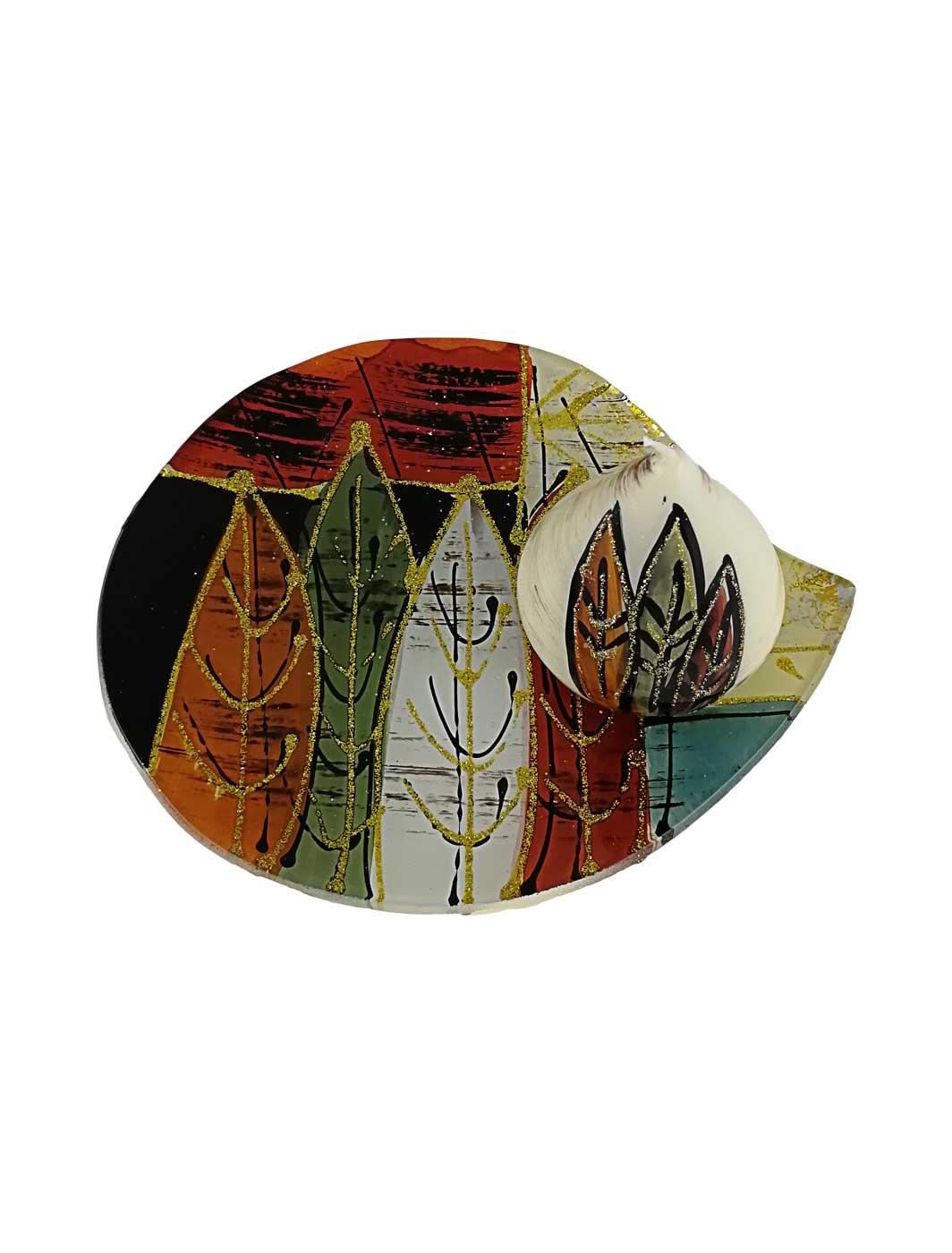 Glasplatte Blätter rund mit Wachskerze