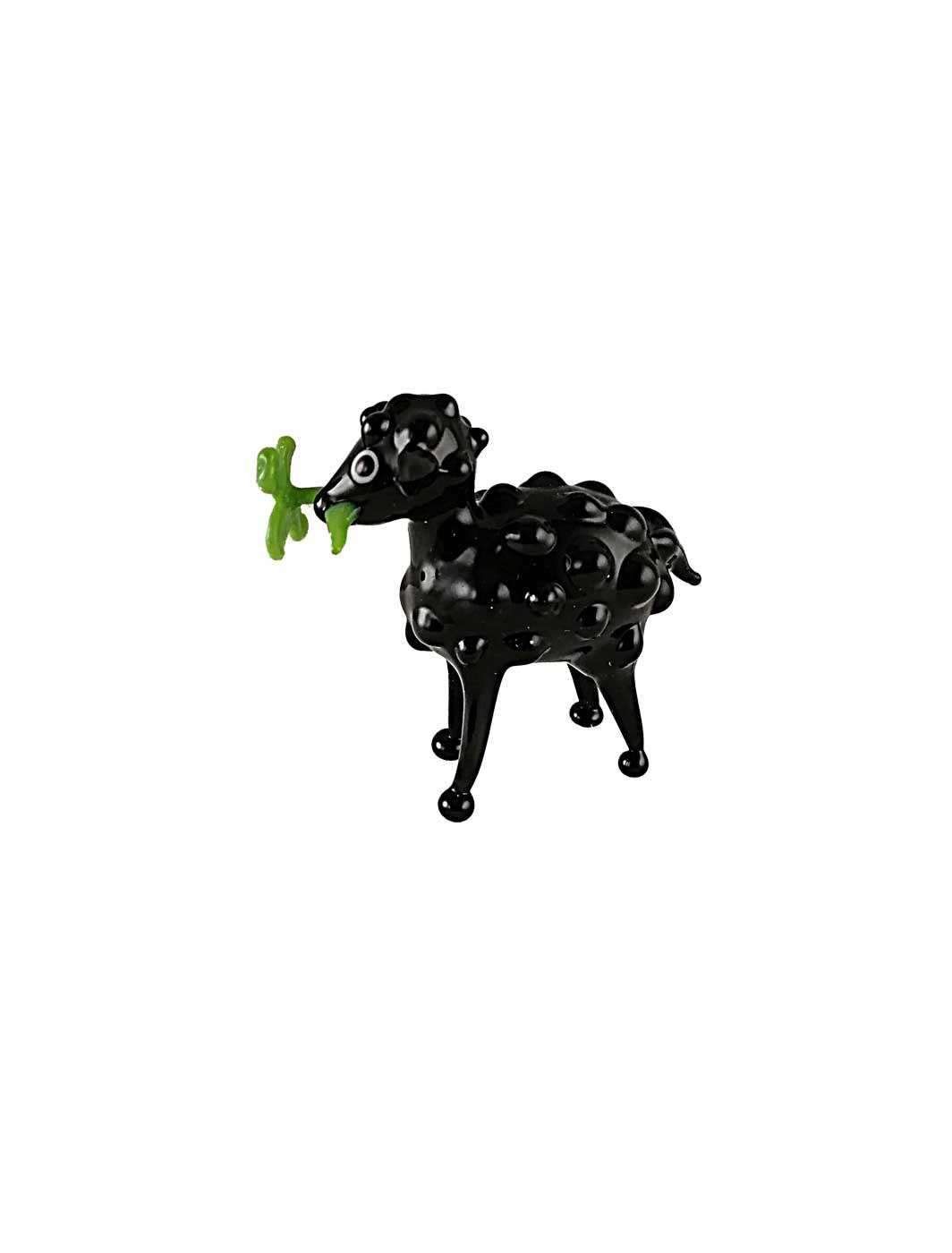Glasfigur Schaf mit Kleeblatt schwarz
