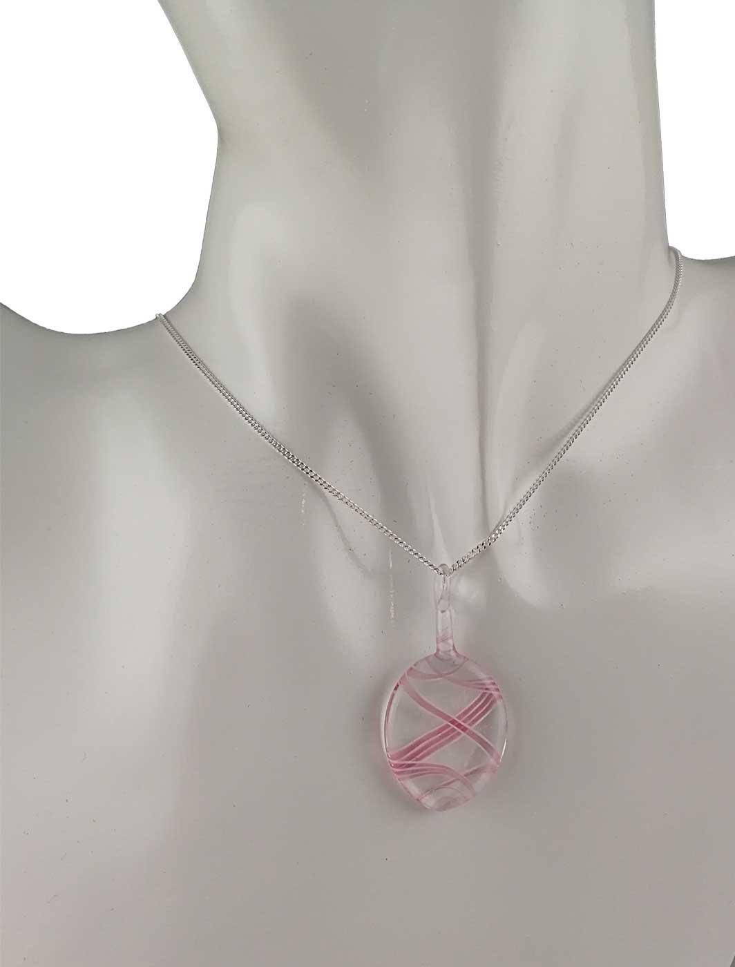 Kette mit Anhänger kristall rosa